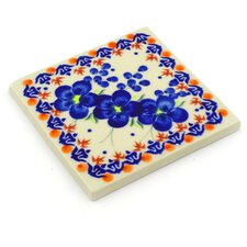 """Polish Pottery 4.37"""" x 4.37"""" Stone Composite Hand-Painted Tile in Multi"""