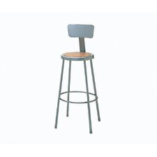Height Adjustable Steel Hardboard Round Seat Stool with Backrest