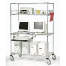 Complete Mobile Adjustable Computer Workcenter AV Cart