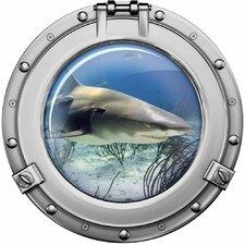 Wandaufkleber Bullauge weißer Hai - 40 x 40 cm