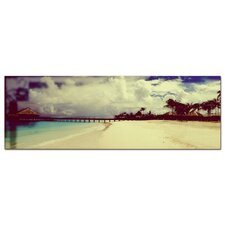 Glasbild Südsee, Strand, Meer, Palmen Fotodruck