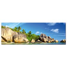 Glasbild Südsee, Landschaft, Meer, Palmen Fotodruck