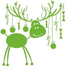 Wandtattoo Weihnachten, Rentier, Sterne, Geweih, Bonbons, Kugel