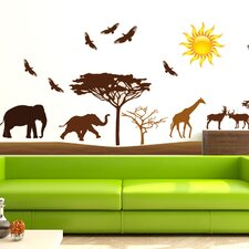 Wandsticker-Set Afrika, Giraffen, Vögel, Elefant