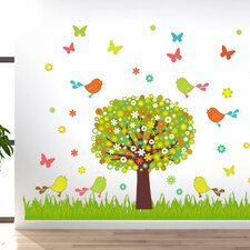 Wandsticker-Set Baum Vögel, Wiese, Blumen, Falter