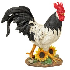 Hand-Painted Striding Rooster Figurine