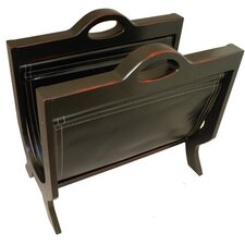 Handcrafted Decorative Wood and Leather Magazine Rack
