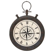 "16.5"" Urban Weathered Metal Pocket Watch Design Hanging Wall Clock"