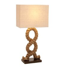 "Hamptons Nautical Rope Pier 28"" Table Lamp with Rectangular Shade"