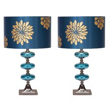 "Casa Cortes 23"" Table Lamp with Drum Shade (Set of 2)"