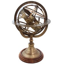 Engraved Brass Tabletop Armillary Nautical Sphere Globe