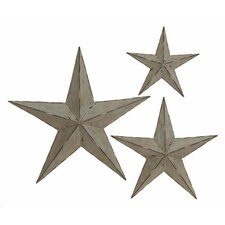 3 Piece Deluxe Handcrafted Stars Metal Wall Decor Set