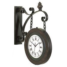 """15"""" Handcrafted Metal Hanging Double Face Clock"""