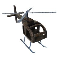 Urban Handcrafted Wooden Helicopter Toy Replica Sculpture
