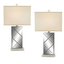 "Urban Designs 26"" H Table Lamp with Square Shade (Set of 2)"