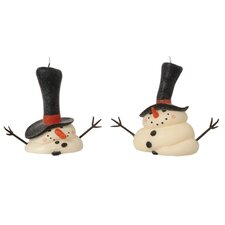 2 Piece Melting Snowman Novelty Candle Set