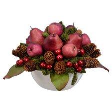 "15"" Pear Cherry Pine Fruit Bowl"
