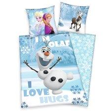 Bettwäsche-Set Disney's die Eiskönigin Olaf mit Reißverschluss aus 100% Baumwolle