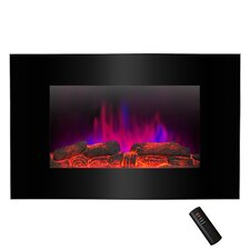 Pebble and Log Interchangeable Wall Mount Electric Fireplace