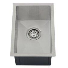 "Ticor 12"" X 17-1/2"" Inch Zero Radius 16 Gauge Stainless Steel Single Bowl Square Undermount Kitchen Bar Sink"