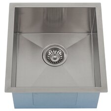 "Ticor 16"" X 17-1/2"" Inch Zero Radius 16 Gauge Stainless Steel Single Bowl Square Undermount Kitchen Bar Sink"