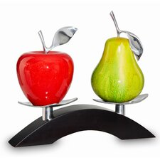 Artesana Medium Apple and Pear on Twin Bridge Sculpture