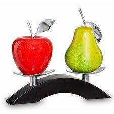 Artesana Medium Apple and Pear on Twin Bridge Sculpture
