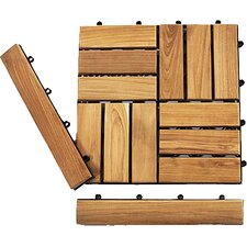 "Le Click Teak 1.5"" x 1"" End Pieces Interlocking in Natural (Set of 2)"