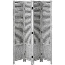 180cm x 161cm Wooden Louvred 4 Panel Room Divider
