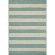 Afuera Yacht Club Teal/Ivory Area Rug