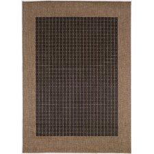 Recife Checkered Field Black Cocoa Indoor/Outdoor Area Rug