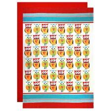 Owl 3 Piece Designer Print Apron and Flour Sack Towel Set