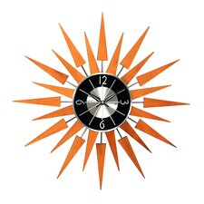 "19.4"" Sunburst Wooden Wall Clock"