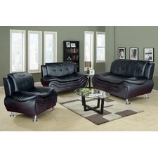 Linda 3 Piece Leather Living Room Set