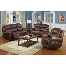 Toledo 3 Piece Bonded Leather Reclining Living Room Sofa Set