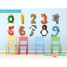 Colorful Animal Number from 0 to 9 Fabric Wall Decal