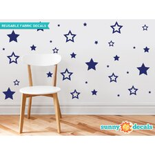 52 Piece Stars Fabric Wall Decal Set