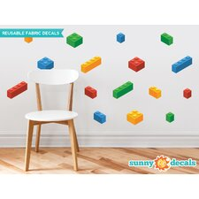16 Piece Building Block Bricks Fabric Wall Decal Set
