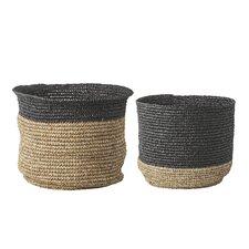 2 Piece Raffia Storage Basket Set