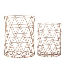 2 Piece Metal Storage Basket Set