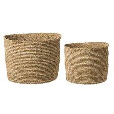 Raffia 2 Piece Basket Set