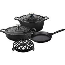 Round Pro Enameled Cast Iron 6-Piece Cookware Set