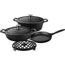 Oval Enameled Cast Iron 6-Piece Cookware Set
