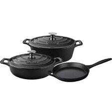Oval Enameled Cast Iron 5-Piece Cookware Set