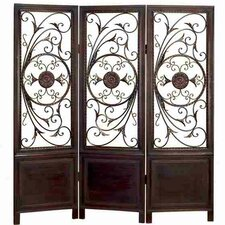 "67.13"" x 63"" Toscana Decorative Screen 3 Panel Room Divider"