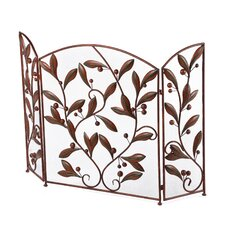 Open Box Price Urban Trends 3 Panel Metal Fireplace Screen in Brown
