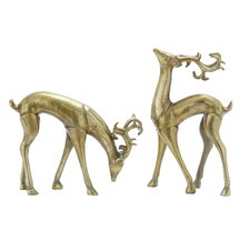 2 Piece Christmas Deer Figurine Set