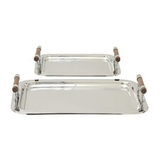 2 Piece Stainless Steel Serving Tray