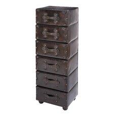 6 Drawer Wood Leather Dresser