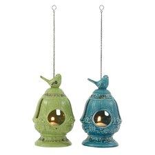 2 Piece Ceramic and Metal Lantern Set